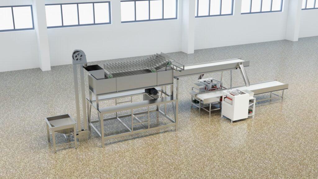 almond peeling production line